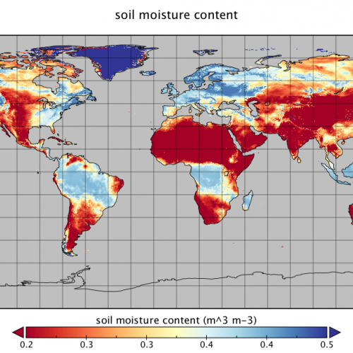 FLDAS produced global 10KM resolution soil moisture estimates (1982-present), updated twice a month. Image from GES DISC.